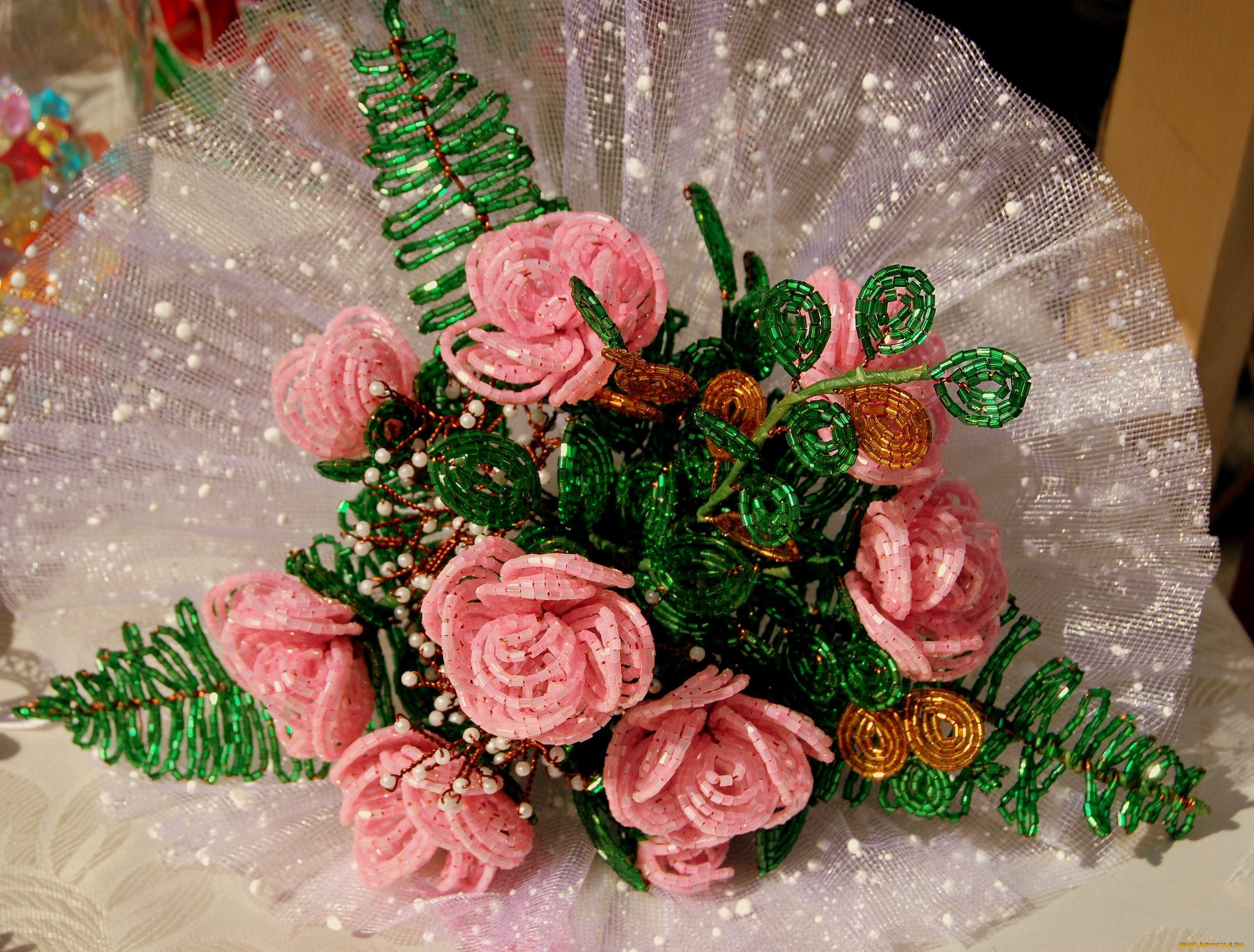 обои для рабочего стола 2500x1898 разное, ремесла, поделки, рукоделие, бисер, розы, цветы, бисероплетение.